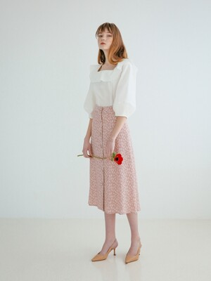 BUTTON DOWN LONG SKIRT PINK