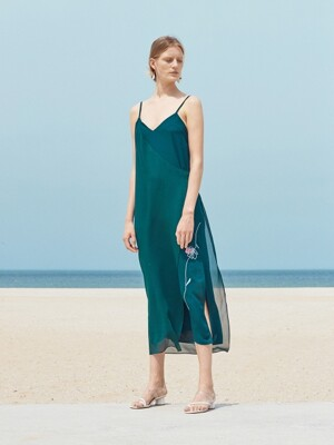 ROSE DRAWING UNBALANCE SLIP DRESS_BLUISH GREEN