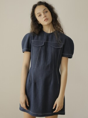 19SS LINEN MINI DRESS /NAVY
