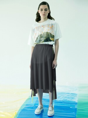 Wing Trimming Summer Skirt (Charcoal)