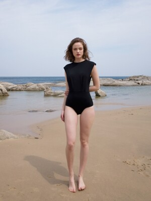 High neck swimsuit_black