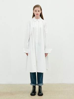 Shirring Shirt Dress [Off White]