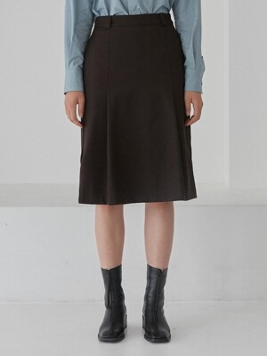TUCK MIDI SKIRTS WOMENS [BROWN]