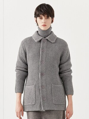 MERINO JACKET CARDIGAN_GRAY