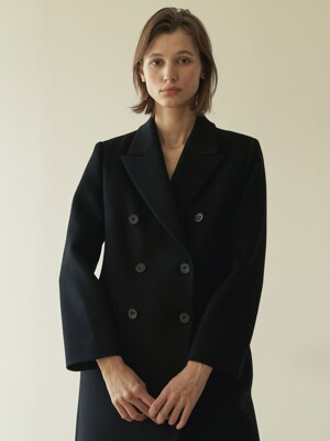 Double-breasted wool coat ( Black )