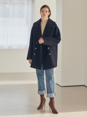 19WN wide-collar half coat