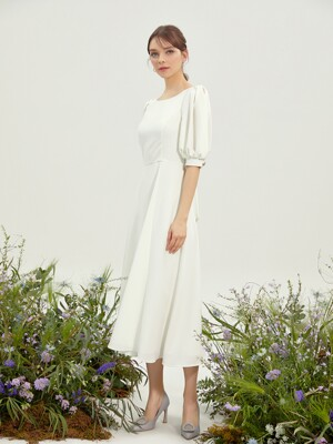 RISIO / Puff Sleeve Back Ribbon Point Dress (ivory)