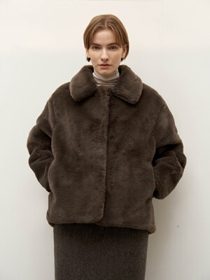 Eco fur jacket - khaki
