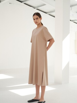 TTS SIDE SLIT JERSEY DRESS 3COLOR