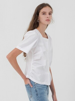 Square Neck Shirring Blouse - White