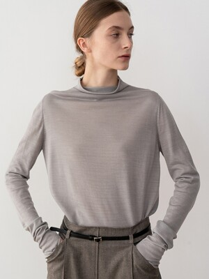20SP FUNNEL-NECK KNIT TOP (GRAY)