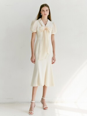 EMMA Double collar detail with Semi mermaid dress (Light Beige)