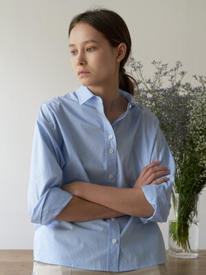 Plain cotton shirt - Sky blue