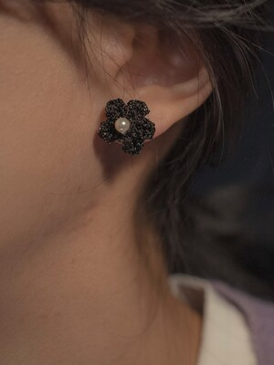 Little black flower with pearl earring