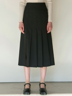 HIGHWAIST PLEATS SKIRT_BLACK