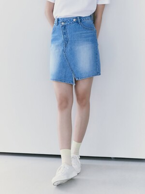 Unbalance Denim Mini Skirt  Blue (KE1227M51P)