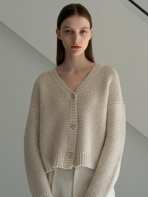 Knubby cotton cardigan (Natural)