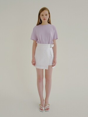 18ss buckle unbalance skirt white