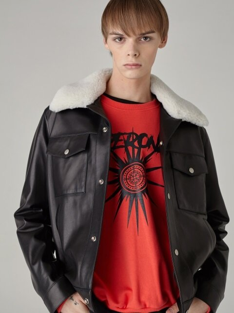 Fur Collar Lambskin Leather Jacket(BLACK)