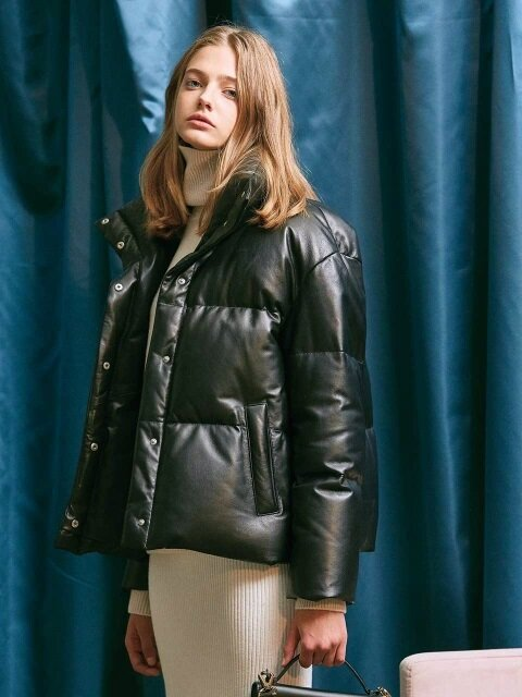 LEATHER DOWN-FILLED JACKET. BLACK