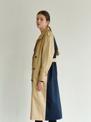 MH7 1159 TRENCH GOLD RING LONG COAT_BE