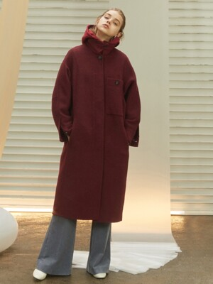 Llama wool big pocket long coat