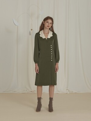 Petaloid Collar Khaki Dress with Buttons