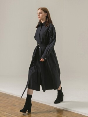 PIN TUCK TRENCH COAT - NAVY