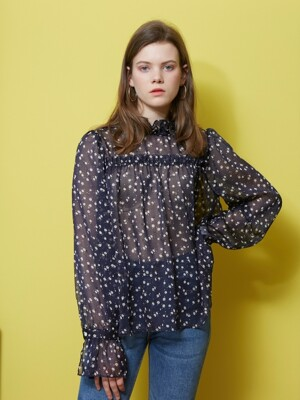 SHIRRING POINT SEE-THROUGH BLOUSE_NAVY