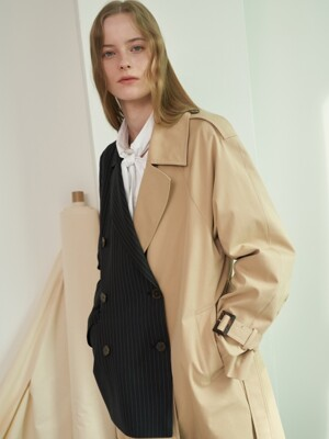 MH11 HALF JACKET TRENCH COAT_BEIGE