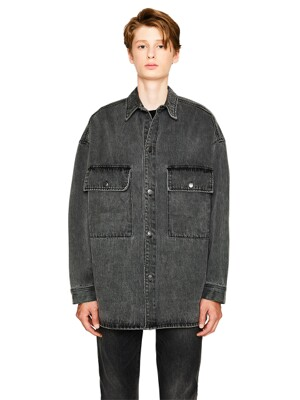 STONE WASHING DENIM SHACKET