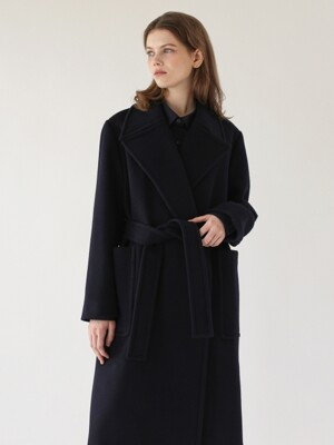 Wide lapel coat - Navy