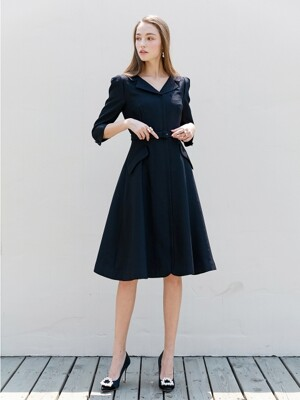 DIANA V-neck notched collar flared dress (Deep Navy)