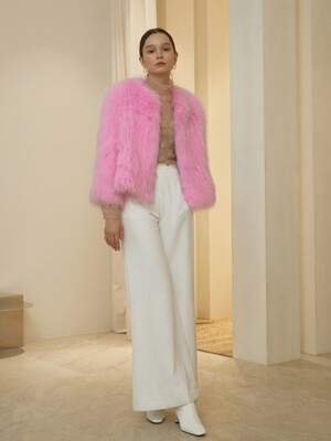 THALIA / HOT PINK FOX FUR SHORT JACKET(PINK)