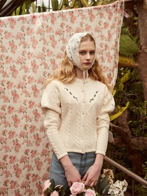Puff Knit Cardigan with Floral Embroidery (Ivory)