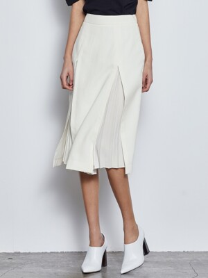SLIT PLEATS SKIRT_IVORY