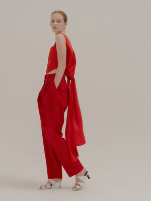PEONY Red Cotton Pants