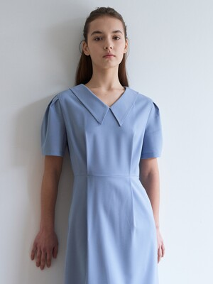v neck long dress-lightblue