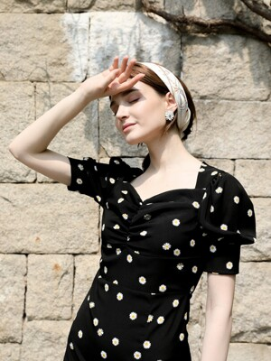 Daisy Heart Neck  Black Dress