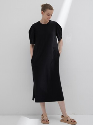 Curved short sleeve dress - Black