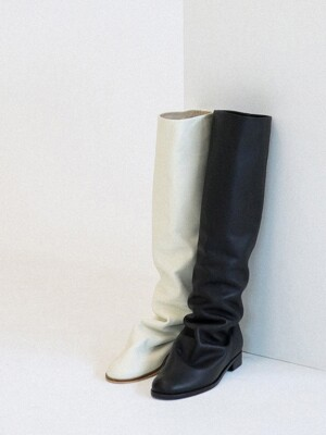 point_wrinkle long boots_ivory_20503