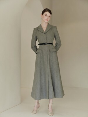 IRENE Notched collar A-line maxi dress (Melange gray)