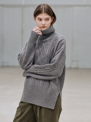 20WN roomy cable turtleneck [GY]
