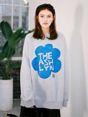 LILY FLOWER OVERSIZED SWEATSHIRT_GREY