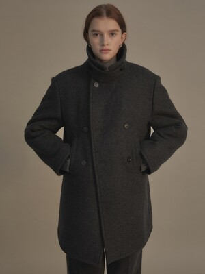 Broad collar pea coat (Dover gray)