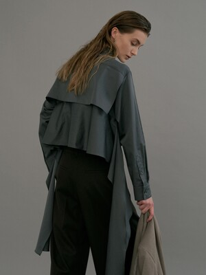 [FRONTROW X EENK] Cape Layered Shirt_SAGE GREY