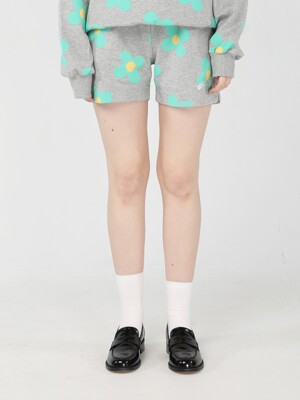 Green flower pattern Shorts [Melange grey]