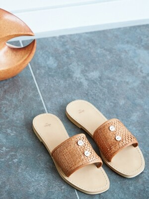 botton mesh leather slippers_beige