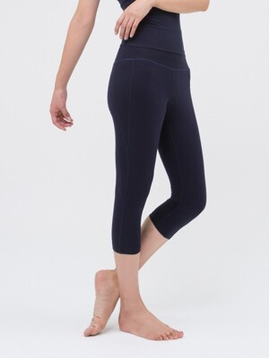 High Rising Crop Leggings-Navy
