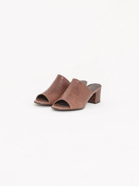 50mm Swinton Croc-Embossed Leather Slides (Brown)